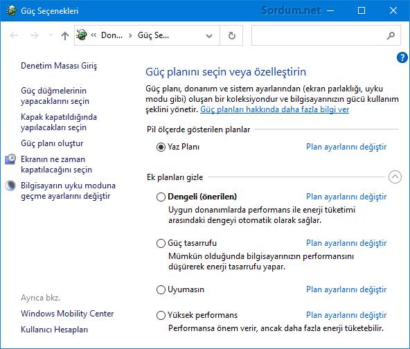 Windows Güç Planları