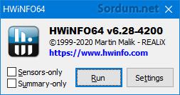 hwinfo ilk ekran