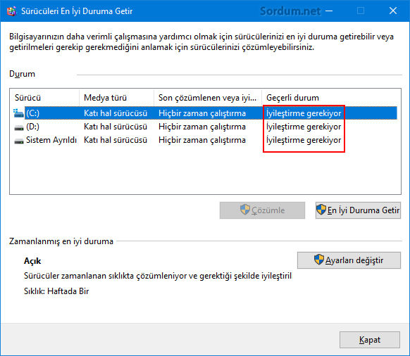 Windows son iyileştirmeyi hatırlamıyor