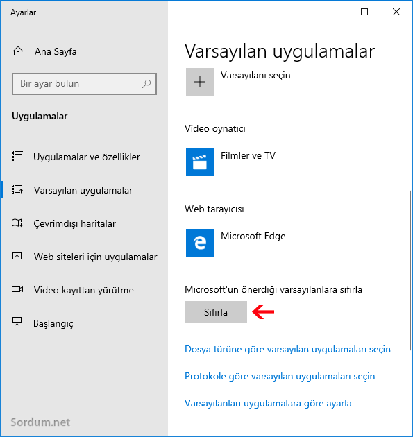 Microsoftun önerdiği varsayılanlara sıfırla