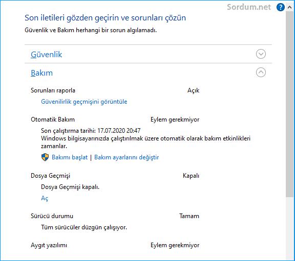Windows otomatik Bakım sorunu