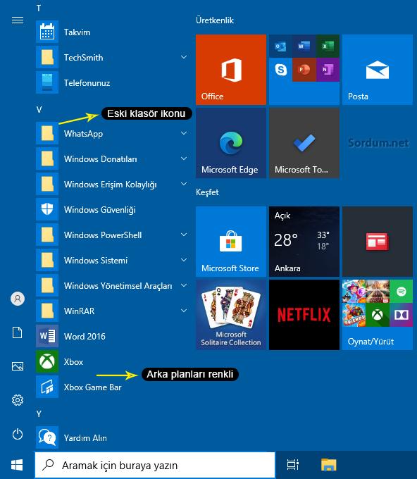 Eski Windows 10 başlat menüsü