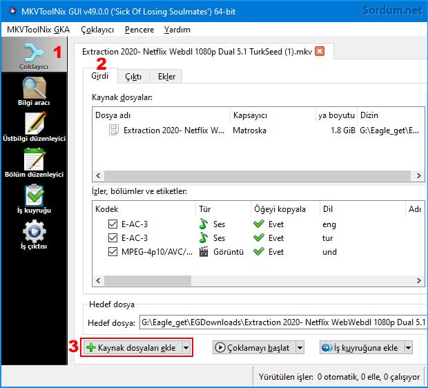 Mkv Toolnix GUI de video seçimi