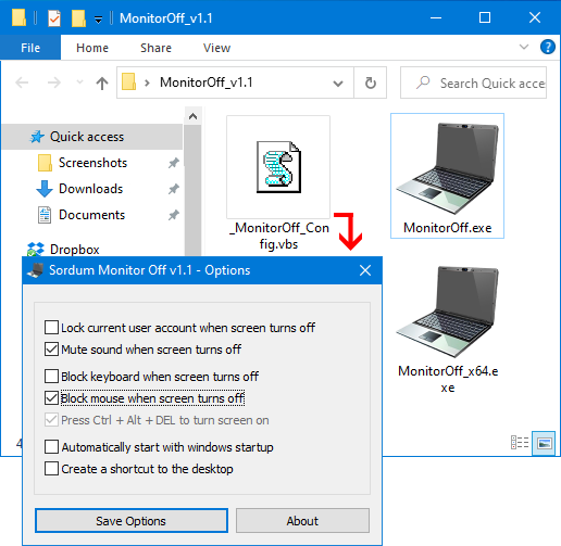 Sordum Monitor Off özellikler penceresi
