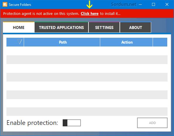 Secure folders yazılımı kurulumu