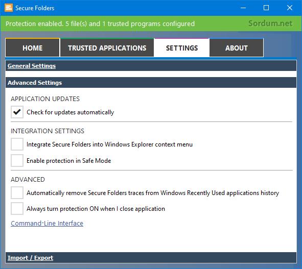 Secure Folders gelişmiş ayarları