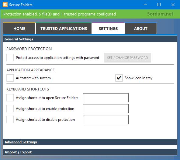 Secure Folders genel ayarları