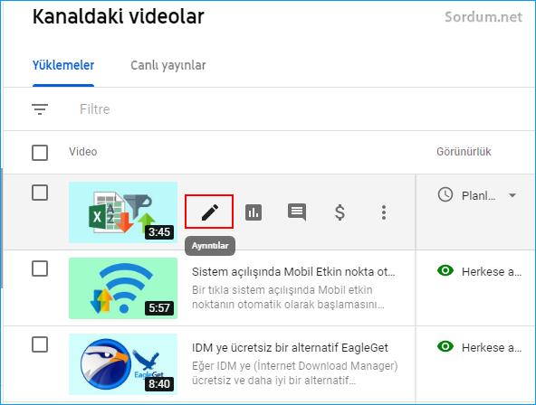Youtube video Ayrıntılar işareti
