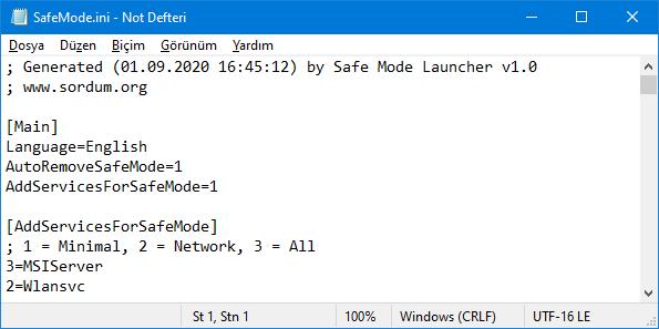 SafeMode.ini dosyası
