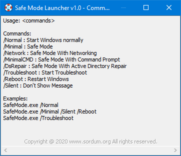 Safe Mode Launcher Cmd parametreleri