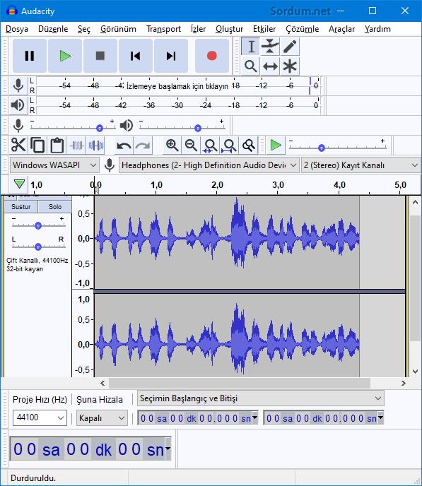 audacity ile ekran sesini kaydettik