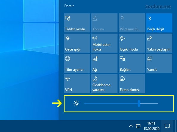 Bildirim ekranından ekran parlaklığını değiştir