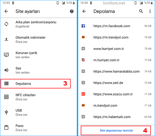 Mobil Chromede Site depolamayı temizle