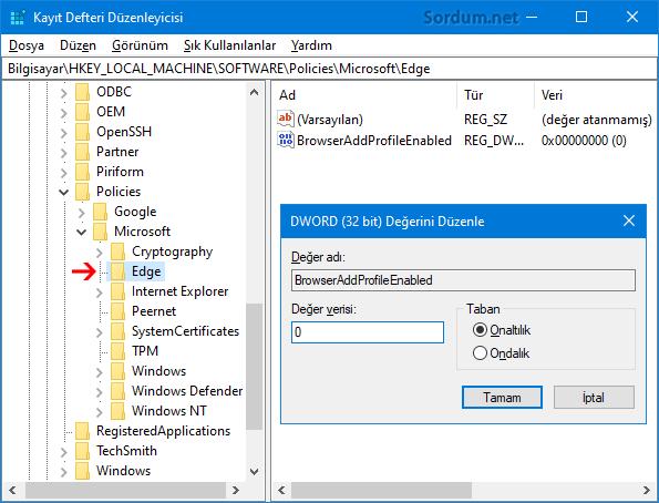 EDGE ye yeni profil eklemeyi yasaklayan Registry değeri