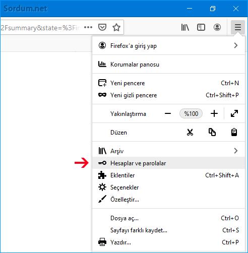 Firefox hesaplar ve parolalar