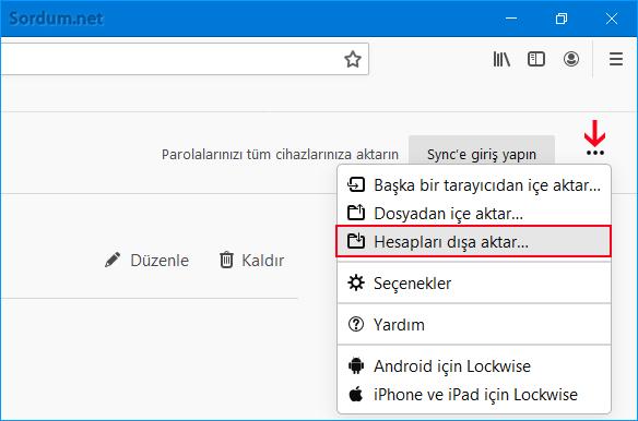 Firefox ta hesapları dışa veya içe aktar