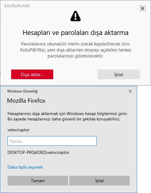Firefoxta hesapları ve parolaları dışa aktar