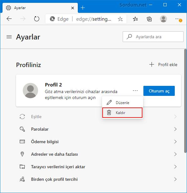 Microsoft EDGE de Profil nasıl silinir