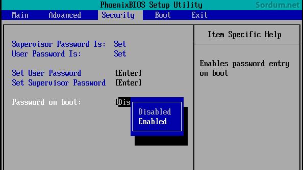 Boot sırasında şifre sorsun