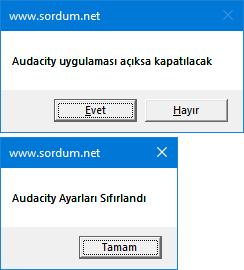Audacity ayarlarını script ile sıfırlayın