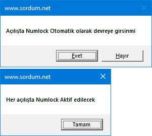 Script ile numlock tuşunu aktif edin