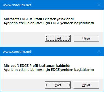 EDGE ye Yeni Profil eklemeyi yasakla