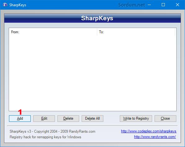 SharpKey yazılım arayüzü