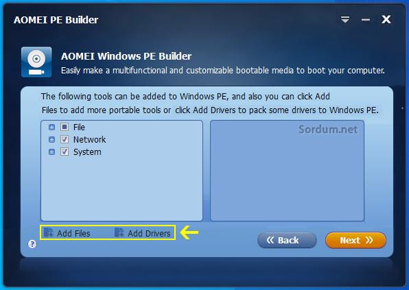 Aomei Pe builder Dosya veya sürücü ekleme ekranı