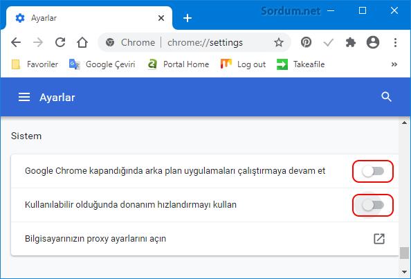 Google chromede Donanım hızlandırma nasıl kapatılır