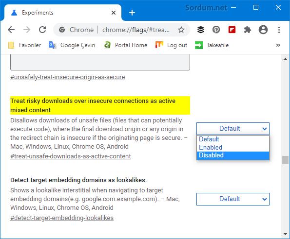 Googe chrome ile HTTP li siteden indirme yapılamıyor