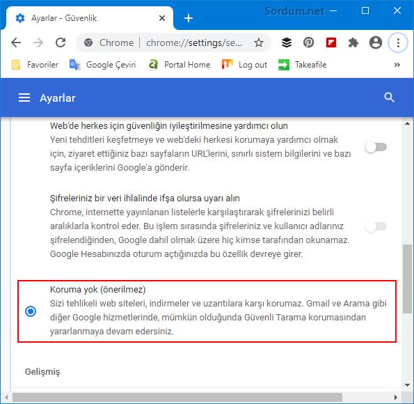 Google Crome koruma ayarı nasıl kapatılır