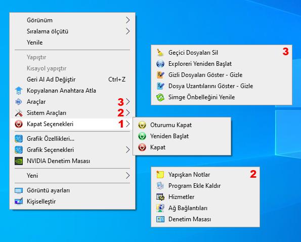 Ec menu ile sağ tuşa eklenenler