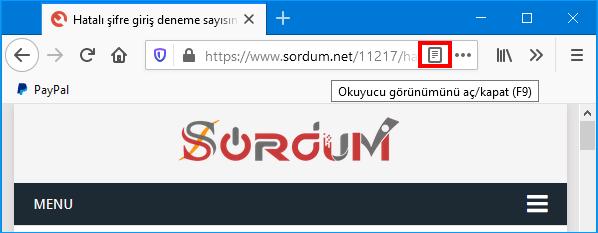 Firefox okuyucu görünümüne geç