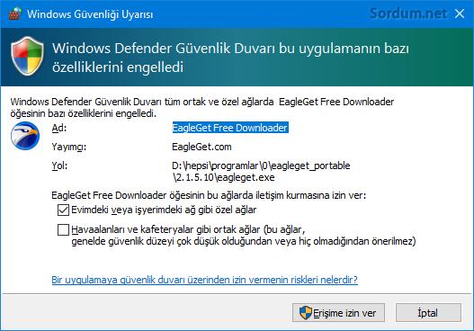 Windows Defender Güvenlik duvarı bu uygulamanın bazı özelliklerini engelledi
