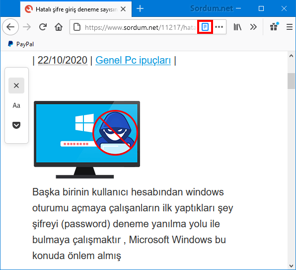 Firefox Okuyucu görünümünden çık