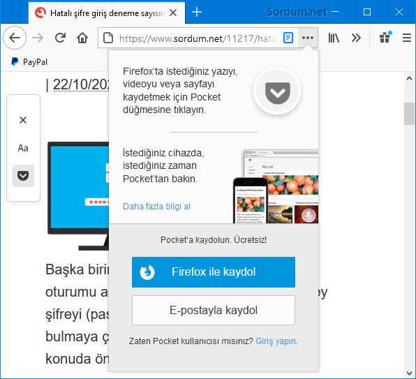 Firefoxta sayfayı pockete kaydet