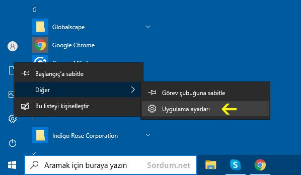 Windows 10 uygulama ayarları