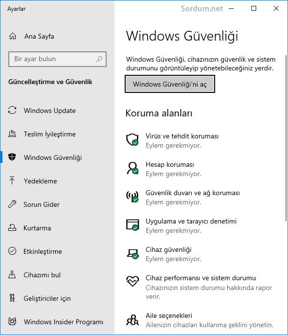 Windows güvenliği arayüzü