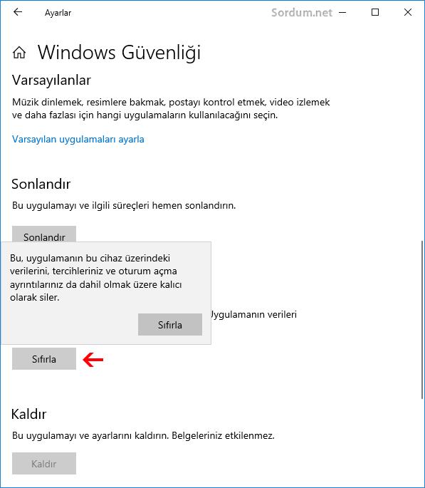 Windows güvenligi sıfırlama butonu