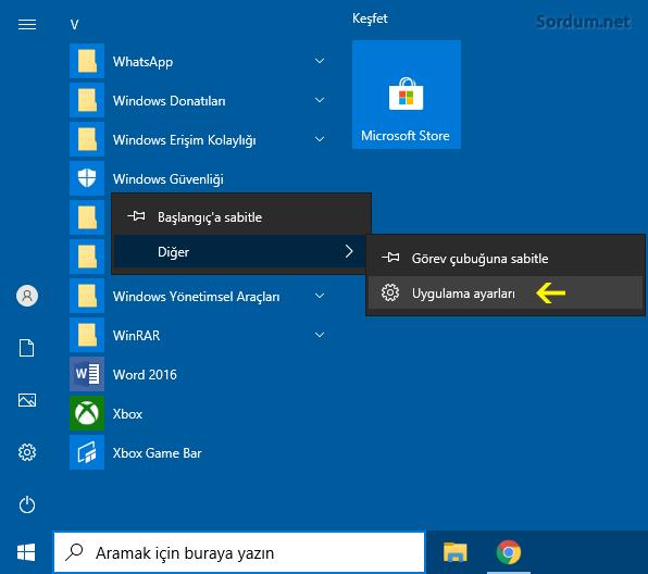 Windows güvenliği uygulama ayarları
