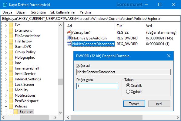 NoNetConnectDisconnect registry değeri