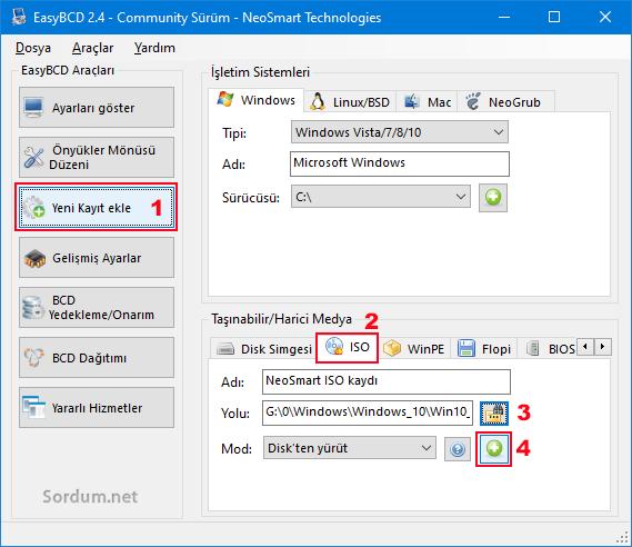 Easy BCD ile Boot menüsüne ISO ekle