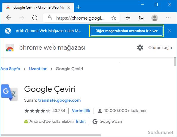 EDGE ye Chrome eklentisi kur