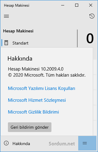 Windows 10 Hesap makinası sürümü nasıl bulunur