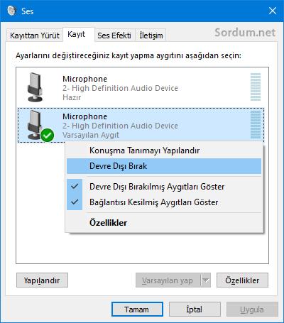 Ses seçenekleri üzerinden mikrofonu devre dış bırak