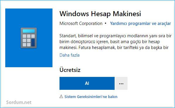 Microsoft Mağazadan hesap makinasını edin