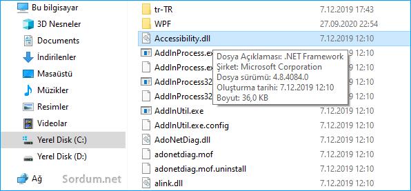 net framework sürüm ayrıntıları