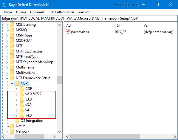 Registryde net framewrok sürümü