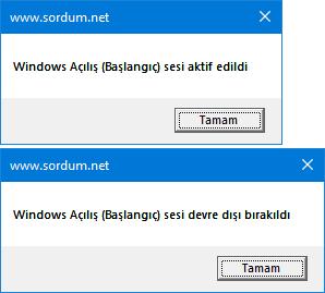 VBscript ile windows Açılış (Başlangıç) sesini aktif et