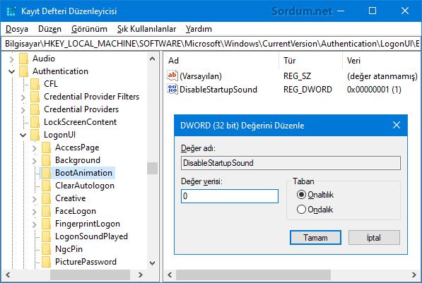Windows başlangıç sesini registryden ayarla